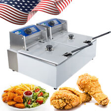 �Usa】Electric 16L Dual Tanks Deep Fryer Commercial Tabletop French Fry Fast Food