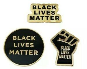 Black Lives Matter Trio Enamel Lapel Fist Pin Gold-Black