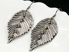 Unique crystal leaf wire rhodium tone dangle earrings Trends fashion jewelry E63