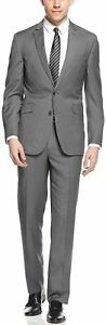Unlisted by Kenneth Cole Men's Mid Grey Pindot Slim-Fit Suit 38R