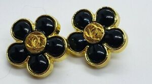 Chanel Black and gold  Flower Stamped buttons, small, 17 mm, 2 pcs