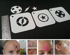 Kids Face Painting SUPERHERO Set of 3pcs Stencils FLASH CAPTAIN AMERICA X MAN