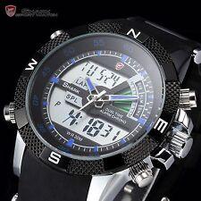 SHARK Mens Digital LCD Army Date Day Quartz Sport Rubber Military Watch+Bookmark