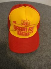 VINTAGE USDA CHOICE MESH TRUCKER SNAPBACK HAT MADE IN USA  - ONE SIZE