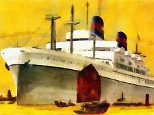 SS PRESIDENT WILSON CRUISE SHIP LINER WATERCOLOUR POSTER ART PICTURE 480PYLV
