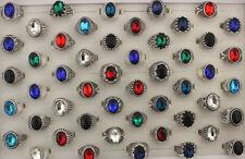 Women Men's Jewelry Wholesale Lots 32pcs Small Mixed Glass Fashion Alloy Rings