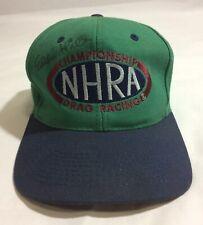 Eddie Hill Signed Vintage NHRA Snapback Hat Green/Blue