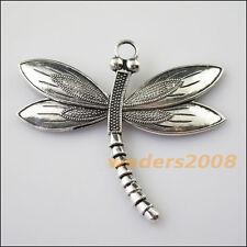 2 New Flying Dragonfly Animal Tibetan Silver Tone Charms Pendants 60x67mm