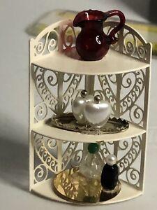 Vintage Dollhouse Miniature Corner Bathroom Vanity Shelf With Accessories Scroll