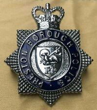 More details for obsolete cap enamel badge, helmet plate preston borough