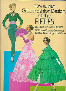 Tom Tierney - Great Fashion Designs of the Fifties - paperback 1985 UK FREEPOST