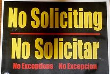 2x No Soliciting / Solicitar sign water resistant self adhesive stickers 11x8.5