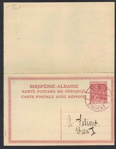 "ALBANIA 1918 10 QINT POSTAL CARD WITH FIRST DAM CANCEL AT ""VLONE"""
