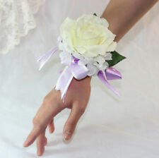 2x Velvet Ivory Rose Wrist Corsage Bridal Wedding Artificial Silk Flowers