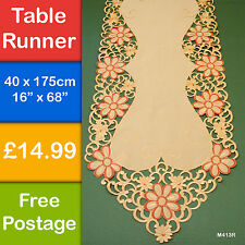 New Orange Daisy  Embroidered Table Runner Cutwork 175cm 40cm M413R