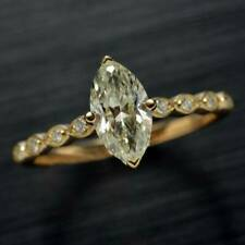 3Ct Marquise& Round Cut Diamond 14K Yellow Gold Finish Solitaire Engagement Ring