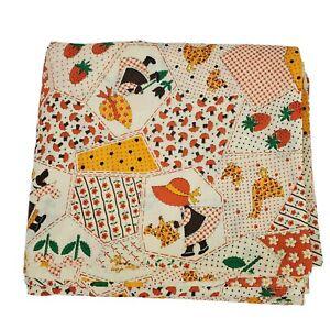 Holly Hobbie Vintage Sewing Fabric 4+ Yards Butterflies Patchwork Orange Gold
