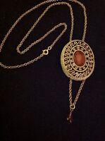 Vintage Estate Gold Tone Filigree Amber Lucite Cameo Locker Necklace Pendant