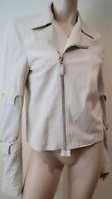 HELMUT LANG White Leather Silver Tone Zipper Biker Jacket SZ42; UK10