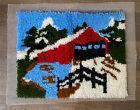 "Vintage Latch Hook Red Covered Bridge 20"" X 25"" Complete"