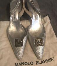 Vintage Manolo Blahnik Silver Slingbacks