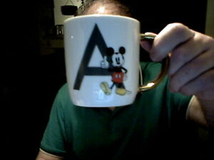 DISNEY MICKEY MOUSE LETTER A  GOLD HANDLE DECORATED MUG BIRTHDAY CHRISTMAS