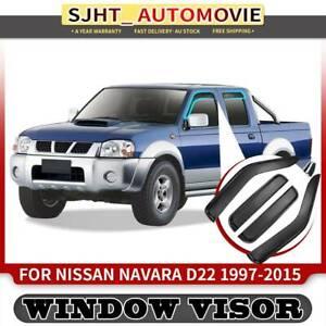 4x Weather Shield Weathershield Window Visors fit Nissan Navara D22 Series 97-15
