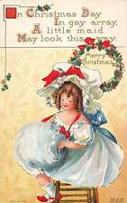 Merry Christmas Girl With Big Hat Muff Antique Postcard K41580