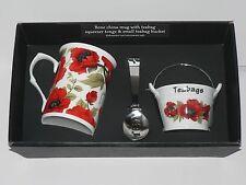 Poppy mug thé tidy seau et thé presse-pinces coffret cadeau
