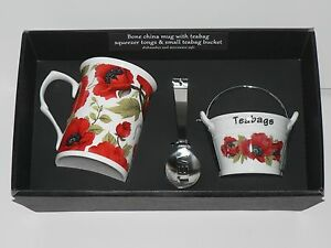 Poppy mug, teabag tidy bucket and teabag squeezer tongs gift boxed