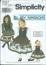 "S 9357 sewing pattern Daisy Kingdom DRESS Peter Pan & 18"" Doll FROCK sew 3,4,5,6"
