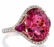9Ct Round Pear Cut Ruby Simulant Diamond Cocktail Ring 925 Silver Rose Gold Fnsh