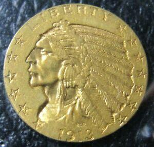 1913-P $5 American Gold Indian Head Half Eagle - AU++