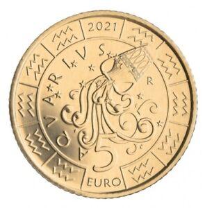 5 Euros Commémorative Saint Marin Horoscope Zodiac Verseau / Aquarius 2021