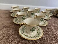 Lenox Holiday Christmas China Coffee Tea Cup & Saucer set Gold trim Holly Footed