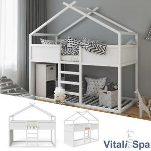 VITALISPA Hochbett MERLIN - Spielbett Kinderbett Erle weiß Jugendbett Hausbett