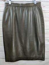 Carlisle Olive Green Soft Leather Skirt Women's Size 8 Lined Straight Pencil