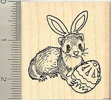 Easter Ferret with Egg, Bunny Ears rubber stamp H9107