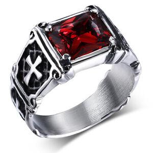Ring mit Kreuzen und rotem Stein Rubin Kreuz Ring Edelstahl Schmuck Männer Biker