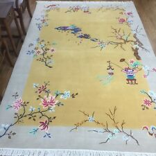 YILONG 6'x9' Yellow Woolen Hand knotted Chinese Art Deco Wool Rug Bedroom Carpet