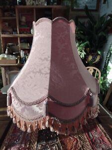 Large Vintage Downton Abbey Style Lamp Shade Pink Damask