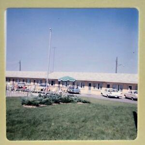 Vtg 1960s Ektachrome 35mm Color Slide Cars Ford Fairlane Pontiac Hotel Motel 60s