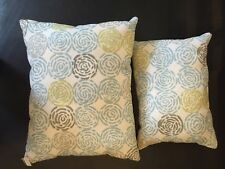 Designer Fabric Handsewn Pair Accent Pillows in Soothing Blue Green Floral Print