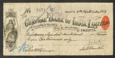 BILL OF EXCHANGE CALCUTTA CENTRAL BANK OF INDIA 1 ANNA HUNDI 1000 RUPEES 1917