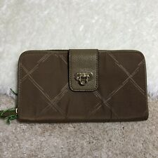 New Vera Bradley Preppy Poly wallet Toast brown Zip Around with Lock