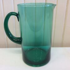 Vintage green/ blue pitcher with handle; cylindrical in shape(ZZ A- sm. cabinet)