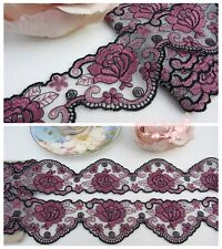 "2""*1Y Embroidered Floral Tulle Lace Trim~White+Black+Rosy Mauve~Rose Fantasy~"