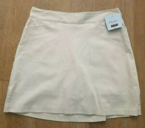 "NWT Lady Hagen Women's Solid Core 17"" Khaki Golf Skort Size 2"