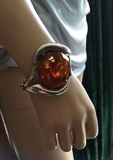 Bangle Bracelet Size S-M 925 Silver Vintage Large Baltic Amber Inclusions Hinged