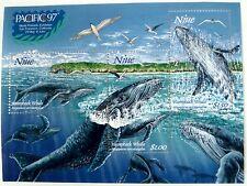 1997 NIUE HUMPBACK WHALE STAMPS SOUVENIR SHEET OCEAN MARINE LIFE SEA LIFE